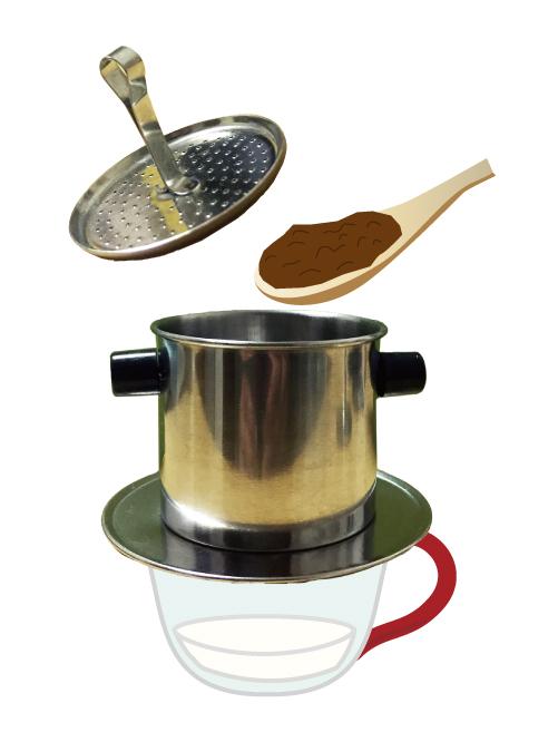 2-3杯のベトナムコーヒー豆を入れる